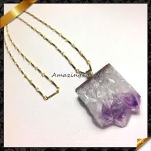 Природный аметист друзи ожерелье, горячие продажи ручной самоцветов ожерелье (FN071)