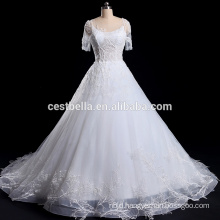 Short sleeve White wedding dress with Appliqued Flowers