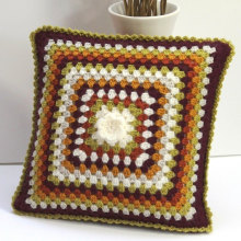 Vintage Style Granny Square flower Crochet Cushion Pillow