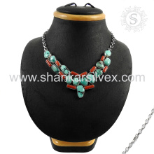 Gorgeous Sterling Silver Jewelry Necklace Coral Turquoise Wholesale Silver Jewelry