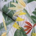 Tecido de linho / algodão estampado com planta fresca pequena