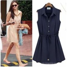 Summer Fashion Sleeveless Pleated Dress (FS5827)