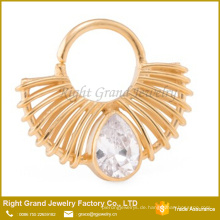 Mode vergoldet 16g Tribal Crystal Tear Drop biegsamen Septum Ring