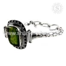 Imperious design prehnite gemstone silver bracelet handamde jewelry 925 sterling silver bracelets jewellery exporter