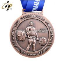 Medallas de encargo al por mayor del premio de los deportes del levantamiento de pesas de la antigüedad 3D al por mayor