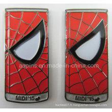 Peut former l'insigne molle en métal d'émail pour l'homme d'araignée (insigne-213)