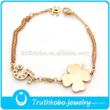 TKB-JB0017 Lucky rose gold 316Lstainless steel bracelets with four leaf clover and crystal paved artifical diamond NO.5