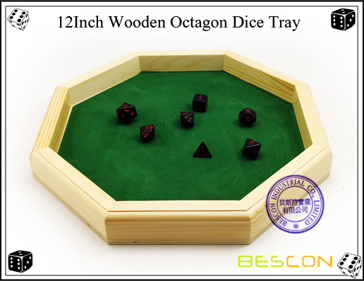12Inch Wooden Octagon Dice Tray-1