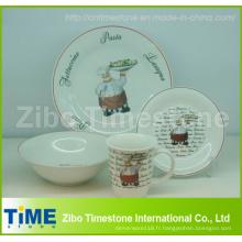 Porcelaine 16 PC Dinner Set Imprimé avec Autocollant (CD001)