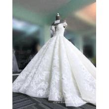 vestido de festa wedding dres super puffy 3D flowers deep v- neck sleeveless wedding gowns 2017