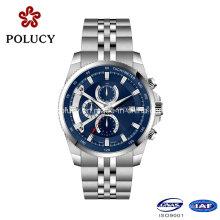 China Movt mecánico lujo reloj gama alta acero inoxidable resistente al agua Men′s