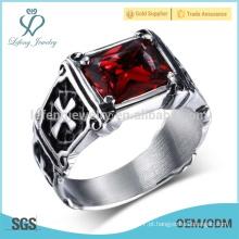 Anel lateral cruzado do diamante do vintage, anel transversal transversal dos homens