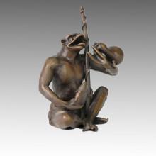 Tier Statue Frosch gehen Angeln Bronze Skulptur Tpal-045