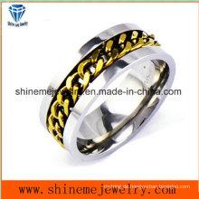 Shineme Schmuck Mode Kette eingelegten Edelstahl Ring (SSR2776)