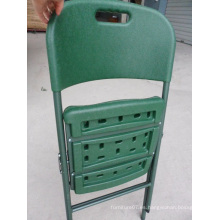 Ejército de soplado verde moldeado portátil HDPE Plasitc plegable silla de camping con mango