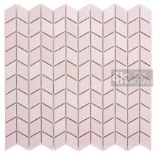 Шеврон розовая стеклянная мозаика