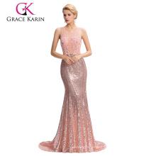 Grace Karin Floor-Length Backless Pink Sequins robe de soirée 2017 abendkleid GK000041-1