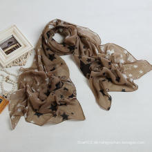 Neue Art-große Größen-nagelneue Voile Stern-Schal-Farben-Brown-Art- und Weiseschals, Dame-Schal, Polyester-Schal (PP035L)