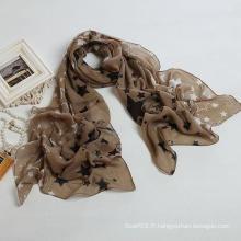 Nouveau style Grande taille Brand New Voile Star Scarf Couleur Châles marron, Foulard Lady, écharpe en polyester (PP035L)