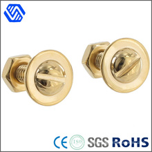 Brass Bolt Polished Flange Bots Slotted Round Head Bolt Nut