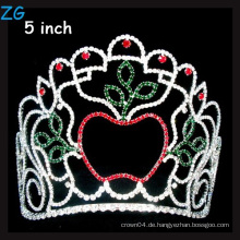 Schönheit Apfel Krone Farbige Rhinestone Weihnachten Festzug Tiara