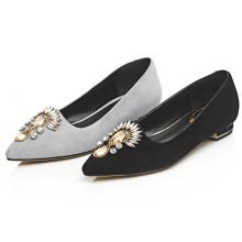 black /white ladies fashion suede leather point toe shoes flat pumps