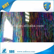 Embalagem anti-contrafacção filme de decoração a laser, filme holográfico auto-adesivo PET