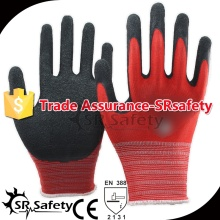 SR SAFETY 13 gauge knitted red polyester coated black latex on palm for safety working gloves