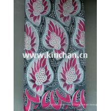 Hot Seling African Handcut Tissu de dentelle suisse de voile avec de nombreuses pierres
