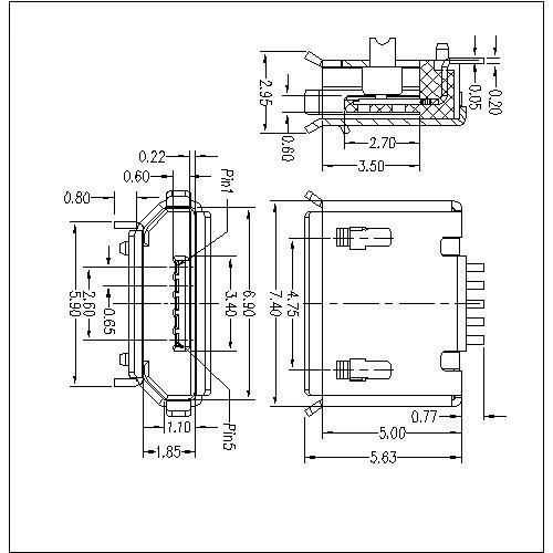 MUFM03 3-Micro USB 5P Receptacle B Type SMT(Shell Dip)0.75