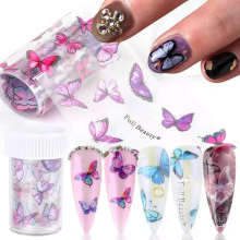 Hot Sale Summer Colorful Butterfly Transparent Bottom Nail Transfer Sticker Tips 3D Nails Art Decorations
