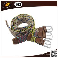 New Design Cotton Braided Belt with PU Leather Child Belt
