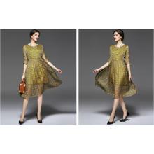 Sommer Rundhalsausschnitt Pfauenfeder Muster Damen Kleid