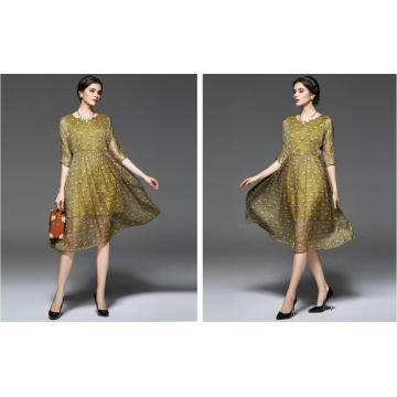 Summer Round-Neck Peacock Feather Pattern Women′s Dress