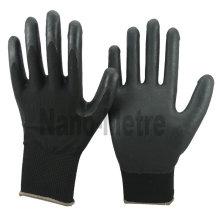 NMSAFETY 13g malha preta luva de nylon preto respirável espuma nitrílica luvas revestidas