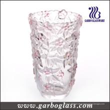 Flor que cinzela o vaso de vidro colorido grande (GB1515MH / PDS)