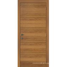 Porta de madeira do projeto da forma, madeira rústica da porta de entrada, porta tradicional do folheado da madeira de pinho