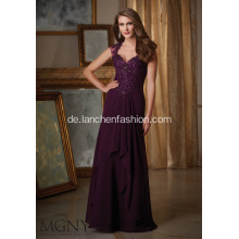 Elegante Illusion Perlen Cap Sleeve Brautjungfer Kleid