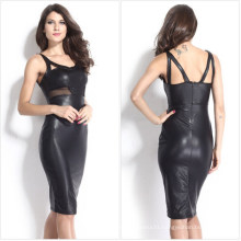 2015 Latest Fashion Women Black Faux Leather Sexy Pencil Dress