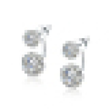 Women′s Fashion Personality 925 Sterling Silver Earrings Inlay Double Crystal