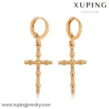 26997- Xuping atacado liga jóias banhado a ouro brincos de cruz