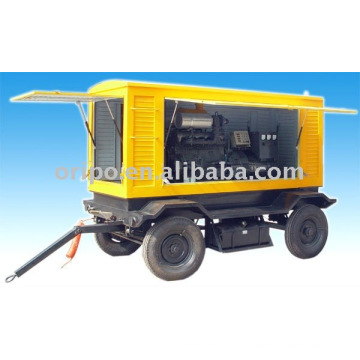 Low price china brand shangchai trailer genset with four wheels