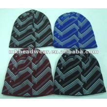 Chapeau en acrylique tricot imprimé Allover