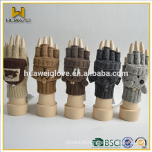 fingerless adult girls 100% acrylic Knitted gloves wholesale