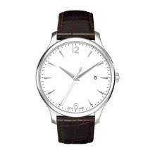 Reloj de cuero para hombre Movimiento de cuarzo Ss Case Calf Leather