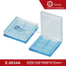 E-0034A blaue Lidschatten-Palette Kunststoff Kosmetik Verpackung Lidschatten Fall