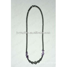 Magnetic Hematite Amethyst Chip beaded Necklace