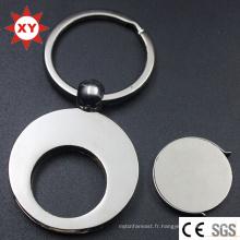 Porte-clés fait sur commande de pièce de jeton de forme ronde de nickel de logo fait sur commande