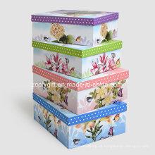Caja de regalo de almacenamiento de papel de impresión personalizada / cajas de embalaje de papel de anidación
