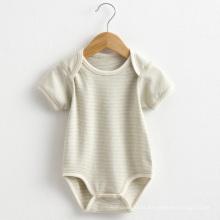 Verão listrado manga curta macacão do bebê